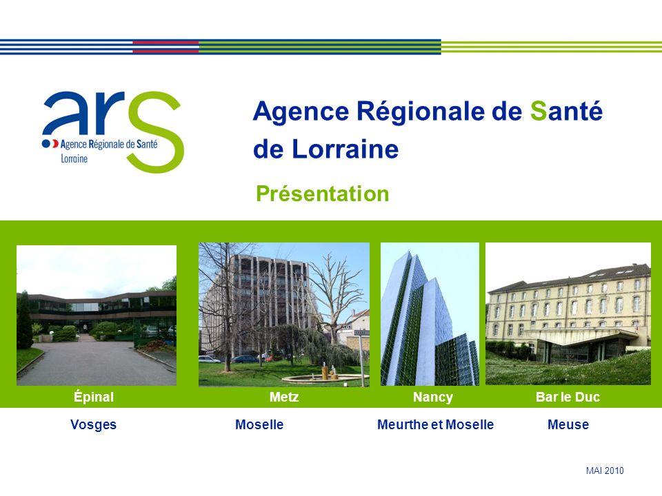 MAI 2010 Agence Régionale de Santé de Lorraine Présentation NancyÉpinalBar le DucMetz VosgesMoselleMeurthe et MoselleMeuse
