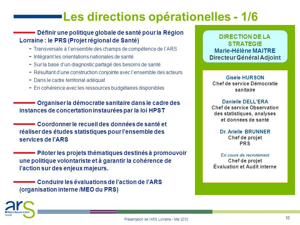 10 Présentation de lARS Lorraine - Mai 2010 Les directions opérationelles - 1/6 Définir une politique globale de santé pour la Région Lorraine : le PR