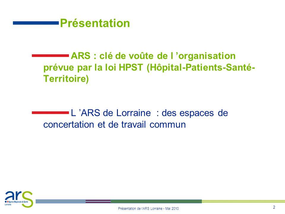 2 Présentation de lARS Lorraine - Mai 2010 Présentation ARS : clé de voûte de l organisation prévue par la loi HPST (Hôpital-Patients-Santé- Territoir