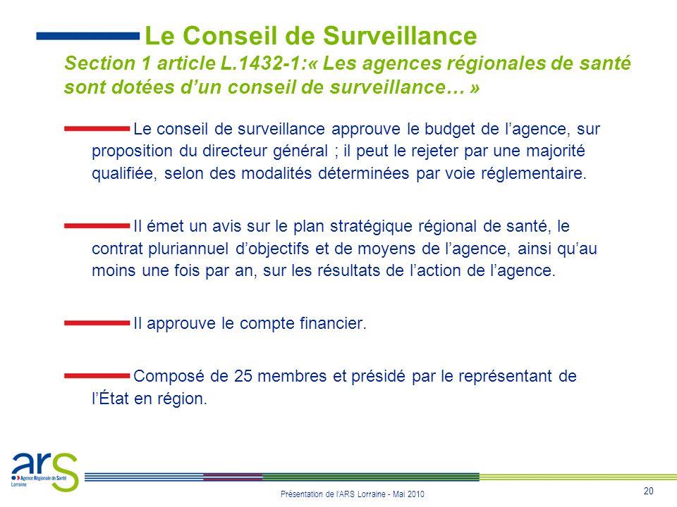 20 Présentation de lARS Lorraine - Mai 2010 Le Conseil de Surveillance Section 1 article L.1432-1:« Les agences régionales de santé sont dotées dun co