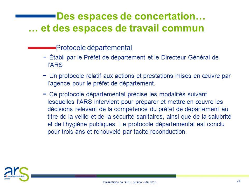 24 Présentation de lARS Lorraine - Mai 2010 Protocole départemental - Établi par le Préfet de département et le Directeur Général de lARS - Un protoco