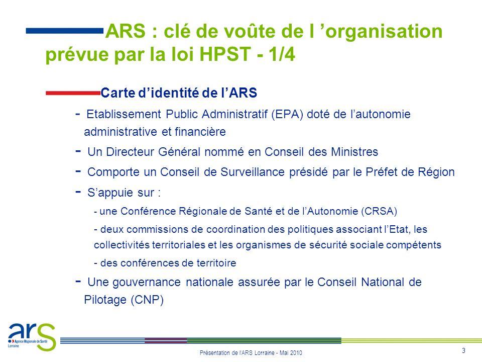 24 Présentation de lARS Lorraine - Mai 2010 Protocole départemental - Établi par le Préfet de département et le Directeur Général de lARS - Un protocole relatif aux actions et prestations mises en œuvre par lagence pour le préfet de département.