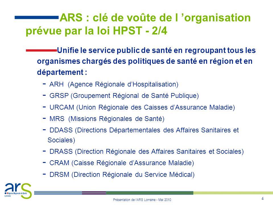 4 Présentation de lARS Lorraine - Mai 2010 Unifie le service public de santé en regroupant tous les organismes chargés des politiques de santé en régi