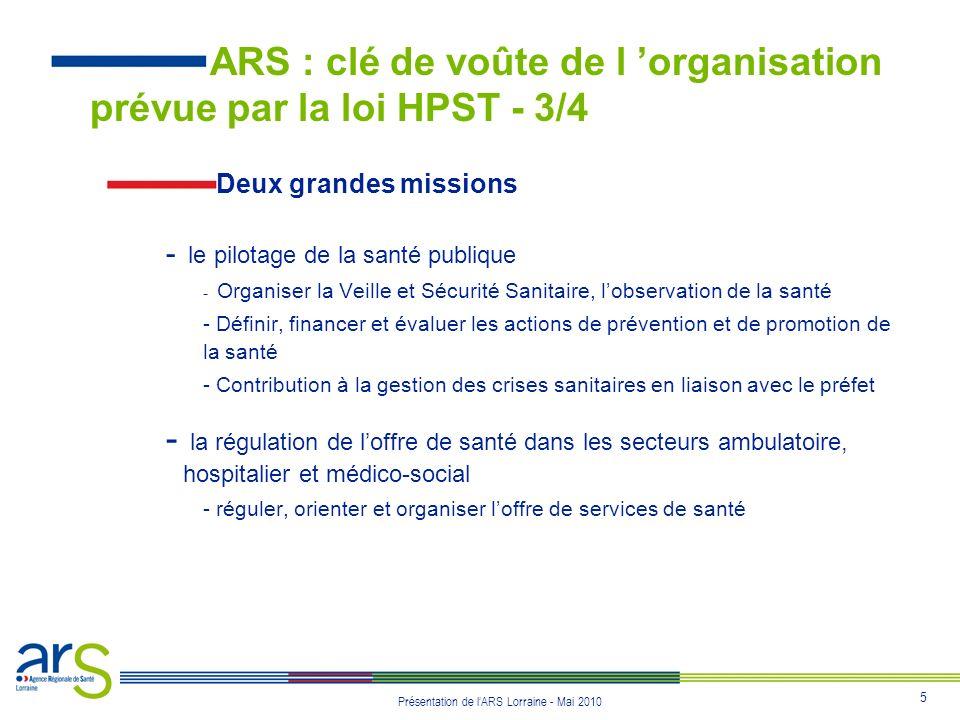 6 Présentation de lARS Lorraine - Mai 2010 4 objectifs communs - Contribuer à réduire les inégalités de santé - Assurer un meilleur accès au soins - Organiser les parcours de soins en fonction des patients - Assurer une meilleure efficacité des dépenses de santé ARS : clé de voûte de l organisation prévue par la loi HPST - 4/4