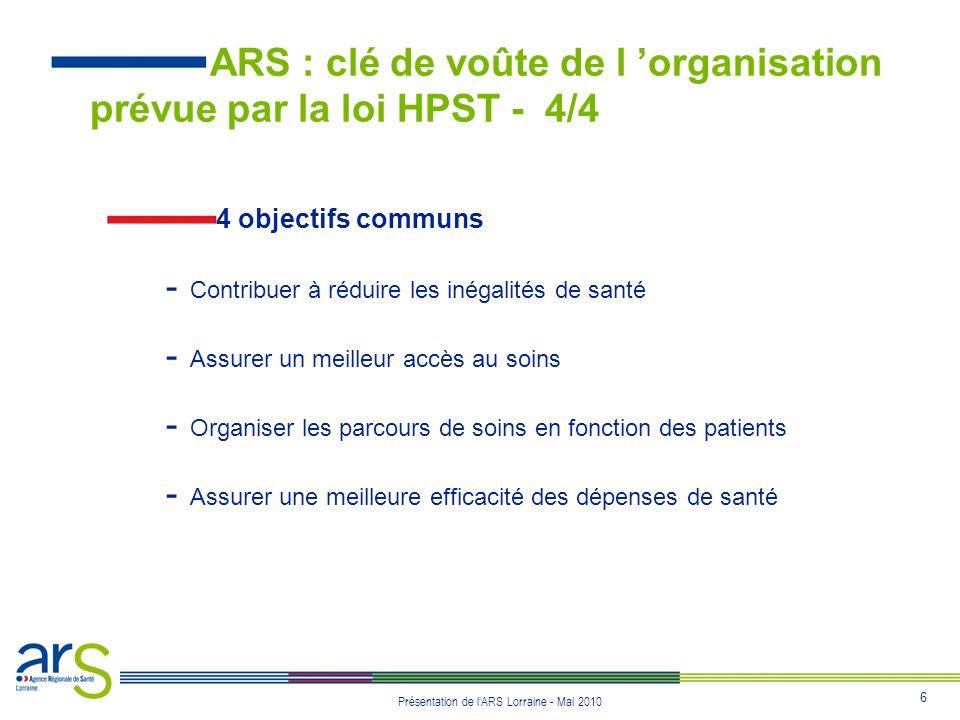 6 Présentation de lARS Lorraine - Mai 2010 4 objectifs communs - Contribuer à réduire les inégalités de santé - Assurer un meilleur accès au soins - O