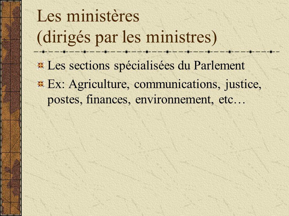 Les ministères (dirigés par les ministres) Les sections spécialisées du Parlement Ex: Agriculture, communications, justice, postes, finances, environnement, etc…