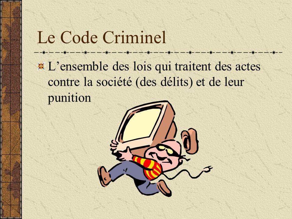 Le Code Criminel Lensemble des lois qui traitent des actes contre la société (des délits) et de leur punition
