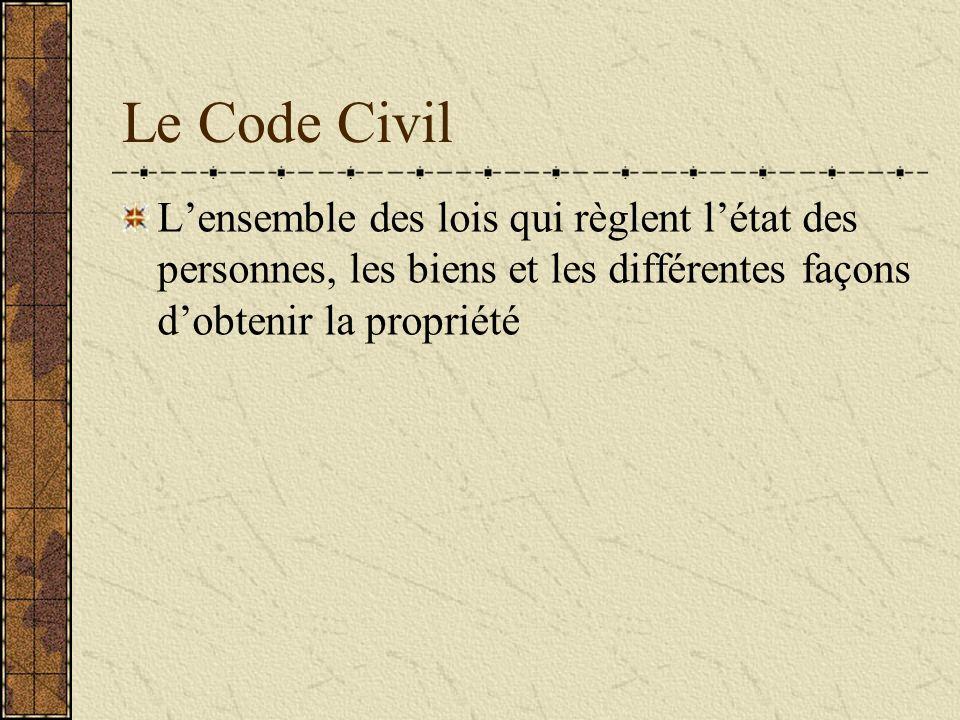 Le Code Civil Lensemble des lois qui règlent létat des personnes, les biens et les différentes façons dobtenir la propriété