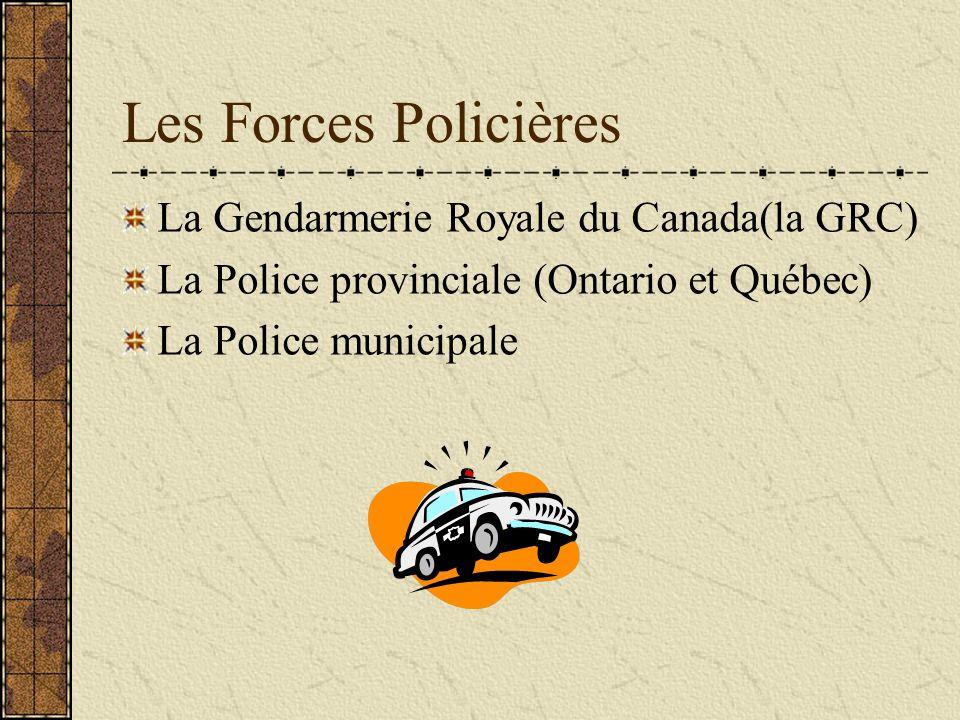 Les Forces Policières La Gendarmerie Royale du Canada(la GRC) La Police provinciale (Ontario et Québec) La Police municipale