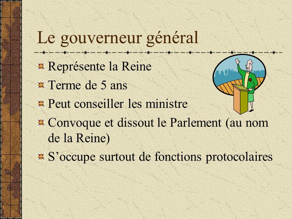 Le gouverneur général Représente la Reine Terme de 5 ans Peut conseiller les ministre Convoque et dissout le Parlement (au nom de la Reine) Soccupe surtout de fonctions protocolaires