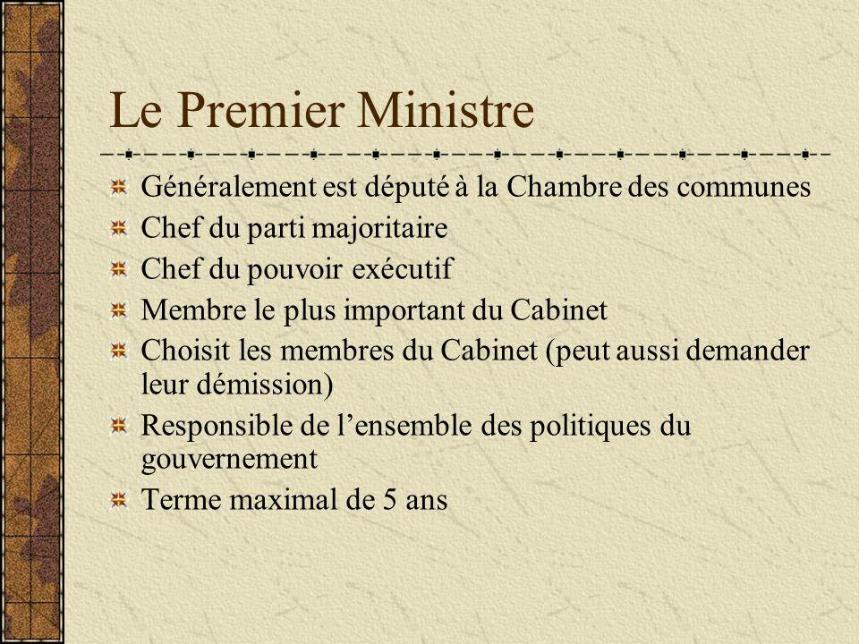 Le Cabinet Formé de membres de la Chambre des communes choisis par le premier ministre Est responsible de lapplication des lois et des politiques des différents ministères