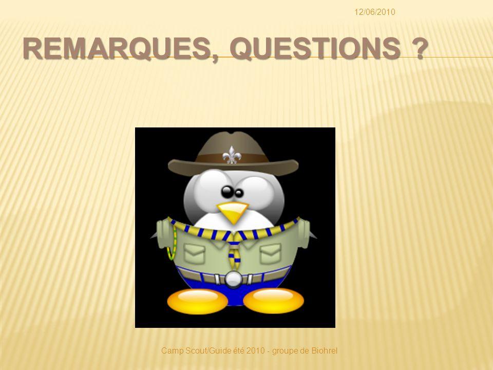 REMARQUES, QUESTIONS 12/06/2010 Camp Scout/Guide été 2010 - groupe de Biohrel