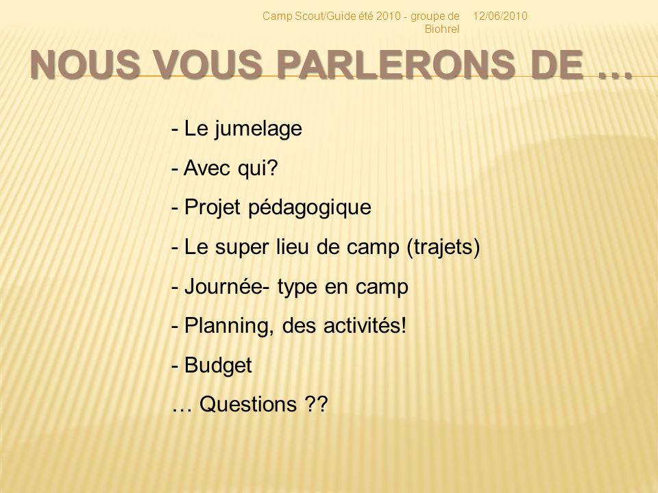 NOUS VOUS PARLERONS DE … 12/06/2010Camp Scout/Guide été 2010 - groupe de Biohrel - Le jumelage - Avec qui.