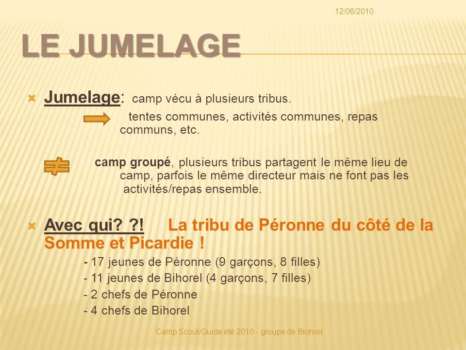 LE JUMELAGE Jumelage: camp vécu à plusieurs tribus.