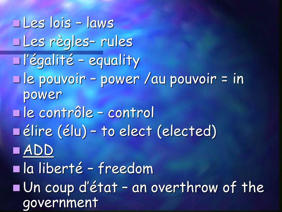 Les lois – laws Les lois – laws Les règles– rules Les règles– rules légalité – equality légalité – equality le pouvoir – power /au pouvoir = in power le pouvoir – power /au pouvoir = in power le contrôle – control le contrôle – control élire (élu) – to elect (elected) élire (élu) – to elect (elected) ADD ADD la liberté – freedom la liberté – freedom Un coup détat – an overthrow of the government Un coup détat – an overthrow of the government