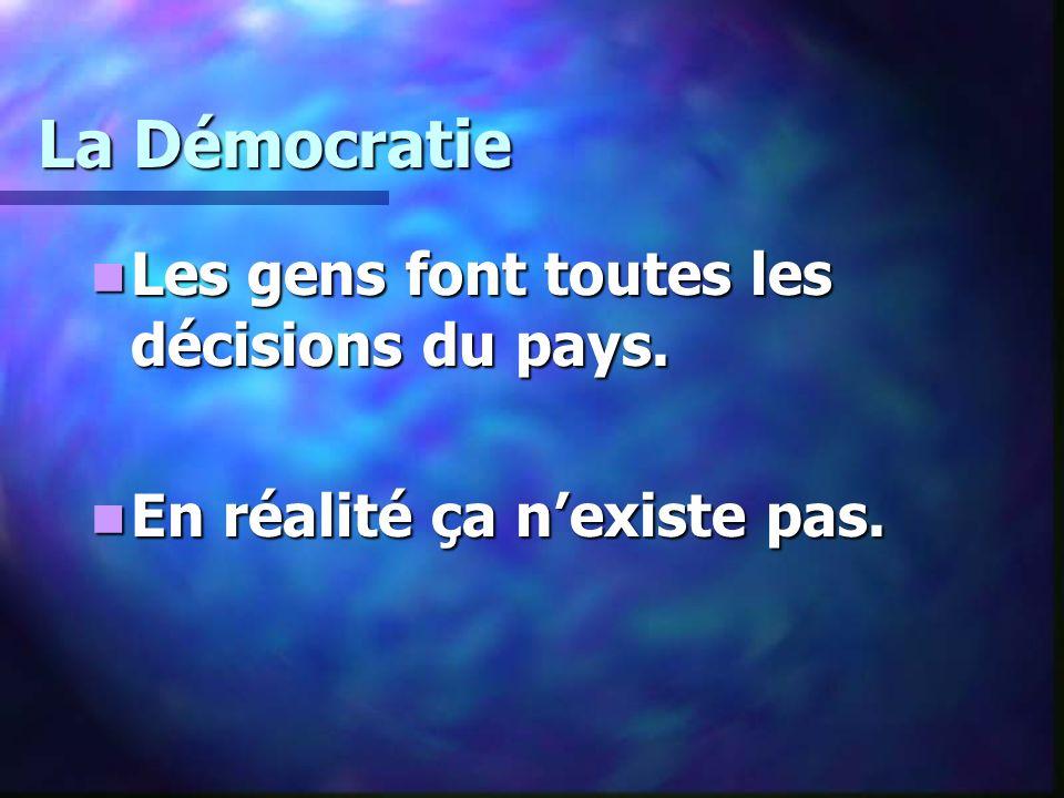 La Démocratie Les gens font toutes les décisions du pays. Les gens font toutes les décisions du pays. En réalité ça nexiste pas. En réalité ça nexiste