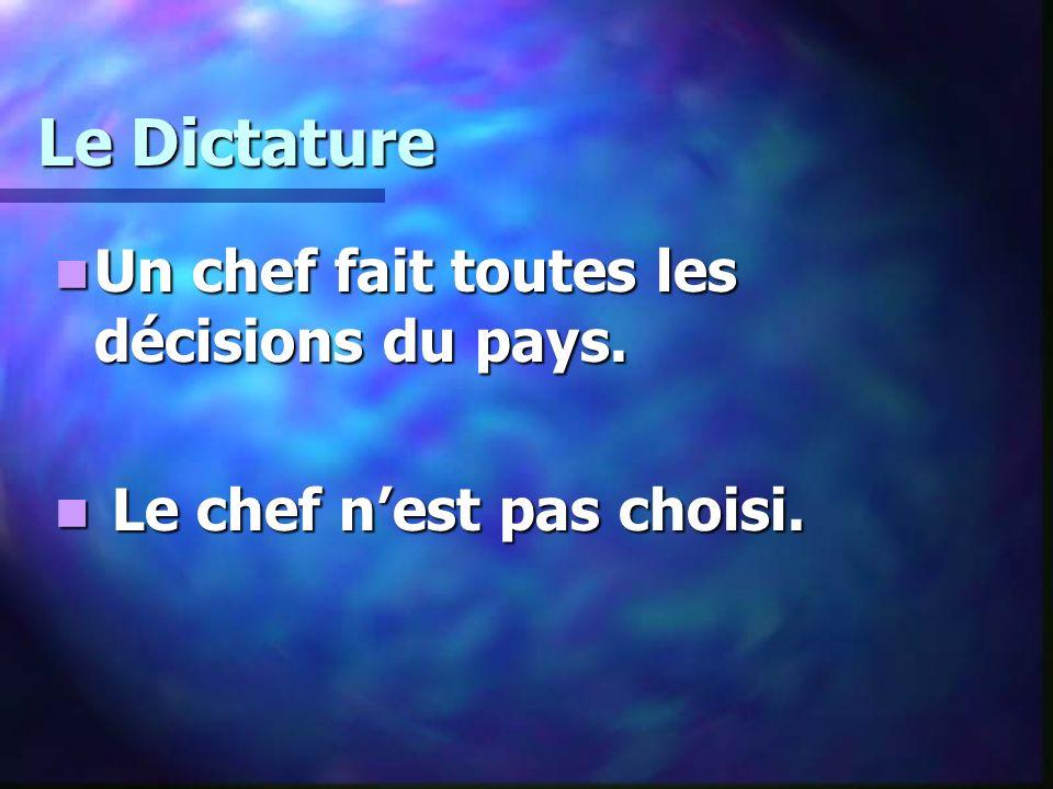 Le Dictature Un chef fait toutes les décisions du pays. Un chef fait toutes les décisions du pays. Le chef nest pas choisi. Le chef nest pas choisi.