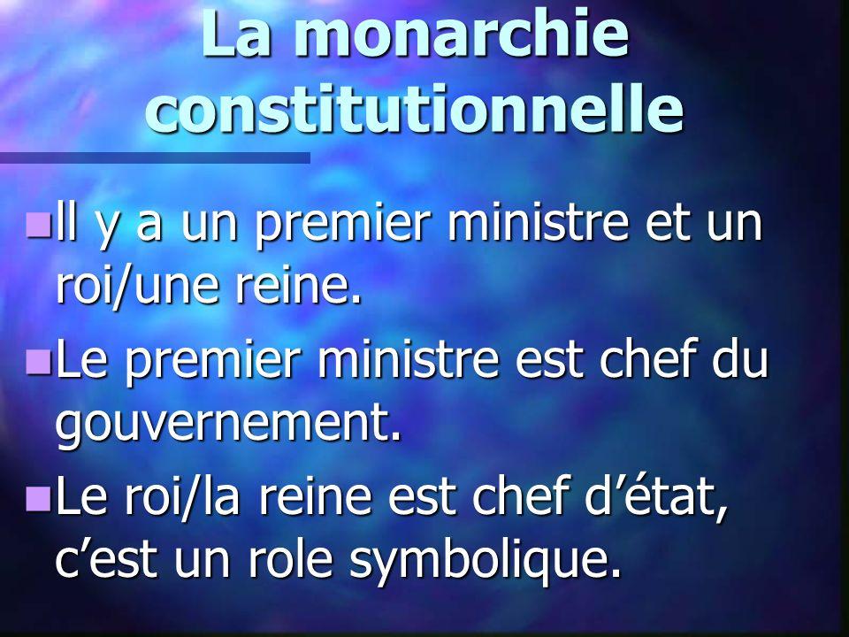 La monarchie constitutionnelle ll y a un premier ministre et un roi/une reine. ll y a un premier ministre et un roi/une reine. Le premier ministre est