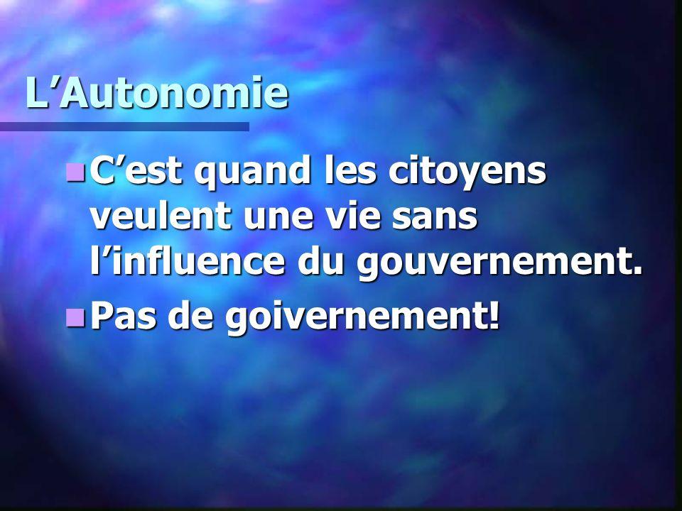LAutonomie Cest quand les citoyens veulent une vie sans linfluence du gouvernement.