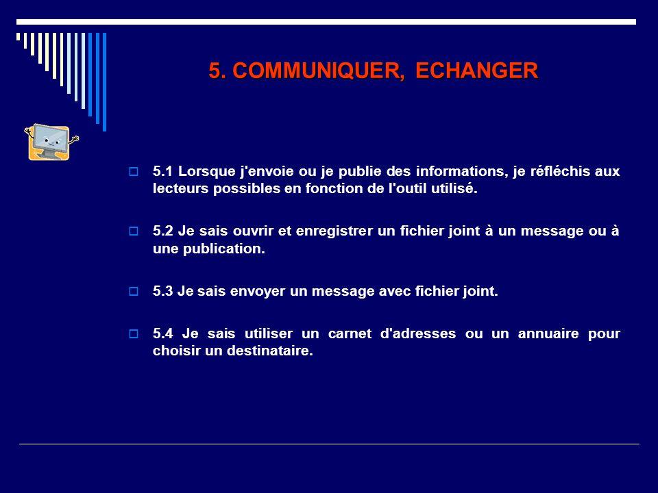 5. COMMUNIQUER, ECHANGER 5.1 Lorsque j'envoie ou je publie des informations, je réfléchis aux lecteurs possibles en fonction de l'outil utilisé. 5.2 J