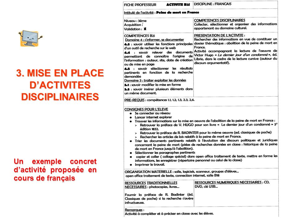 3. MISE EN PLACE DACTIVITES DISCIPLINAIRES Un exemple concret dactivité proposée en cours de français