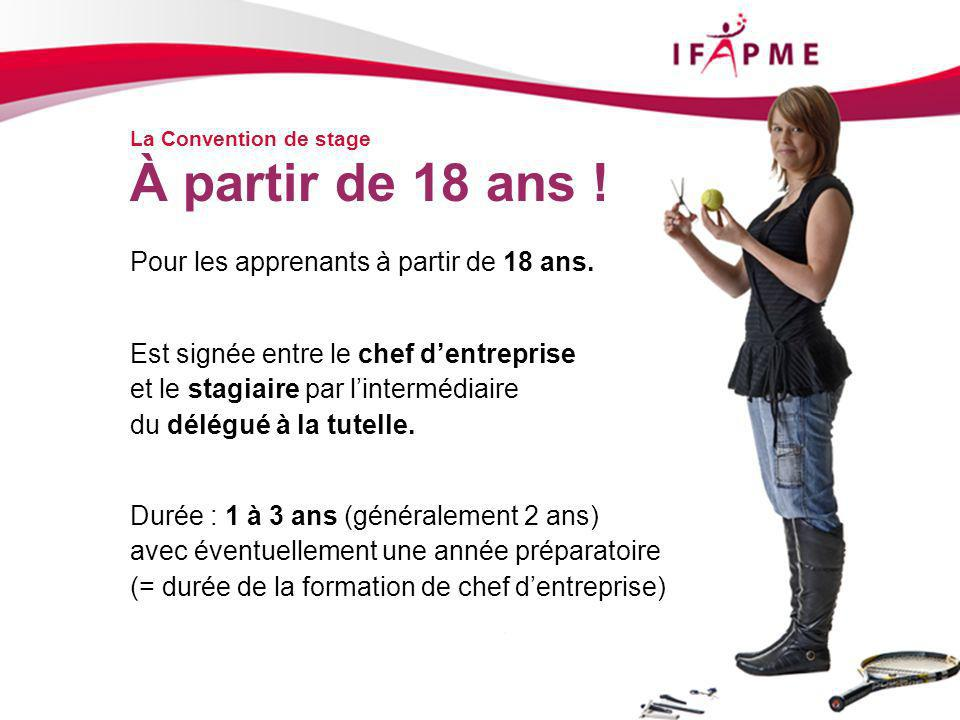 La Convention de stage Pour les apprenants à partir de 18 ans.
