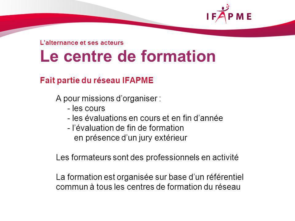 Lalternance et ses acteurs Fait partie du réseau IFAPME Le centre de formation A pour missions dorganiser : - les cours - les évaluations en cours et en fin dannée - lévaluation de fin de formation en présence dun jury extérieur Les formateurs sont des professionnels en activité La formation est organisée sur base dun référentiel commun à tous les centres de formation du réseau