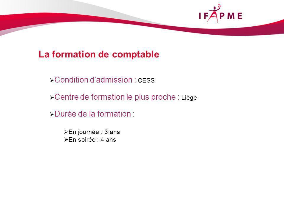 Condition dadmission : CESS Centre de formation le plus proche : Liège Durée de la formation : En journée : 3 ans En soirée : 4 ans