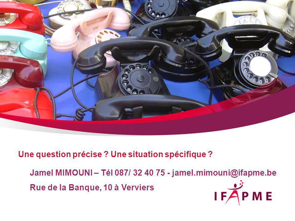 Jamel MIMOUNI – Tél 087/ 32 40 75 - jamel.mimouni@ifapme.be Rue de la Banque, 10 à Verviers Une question précise .