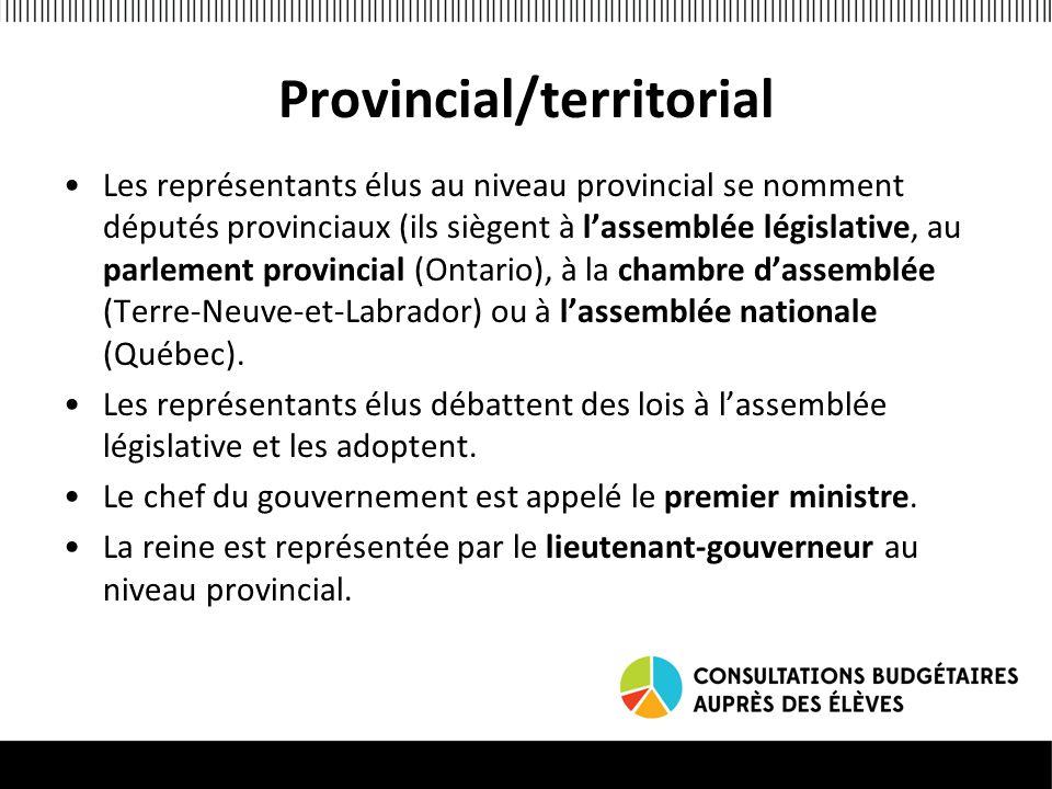 Provincial/territorial Les représentants élus au niveau provincial se nomment députés provinciaux (ils siègent à lassemblée législative, au parlement provincial (Ontario), à la chambre dassemblée (Terre-Neuve-et-Labrador) ou à lassemblée nationale (Québec).