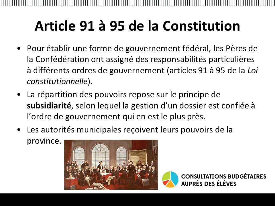 Article 91 à 95 de la Constitution Pour établir une forme de gouvernement fédéral, les Pères de la Confédération ont assigné des responsabilités particulières à différents ordres de gouvernement (articles 91 à 95 de la Loi constitutionnelle).