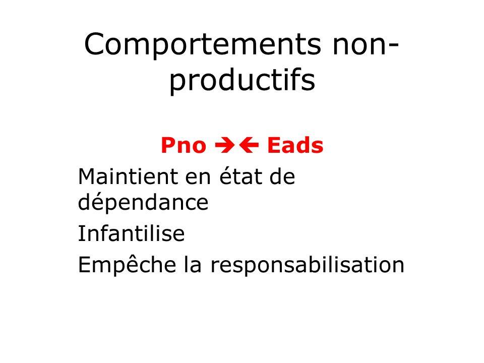 Comportements non- productifs Pno Eads Maintient en état de dépendance Infantilise Empêche la responsabilisation