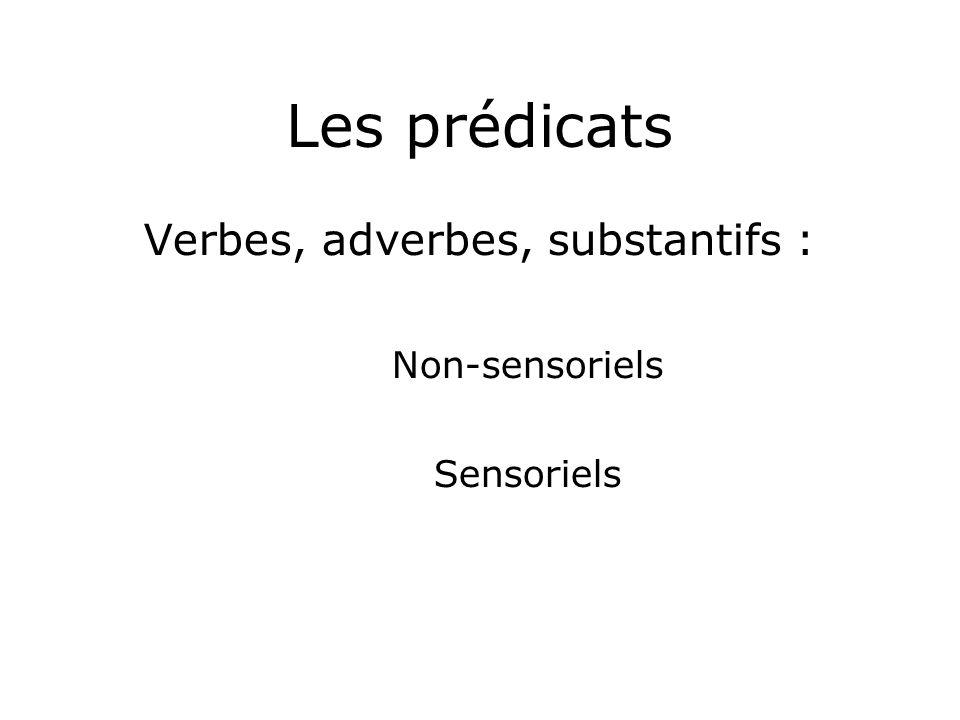 Les prédicats Verbes, adverbes, substantifs : Non-sensoriels Sensoriels