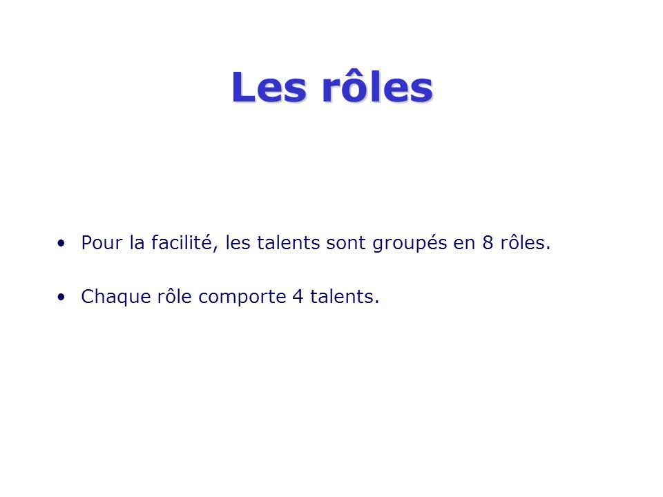 Les rôles Pour la facilité, les talents sont groupés en 8 rôles. Chaque rôle comporte 4 talents.