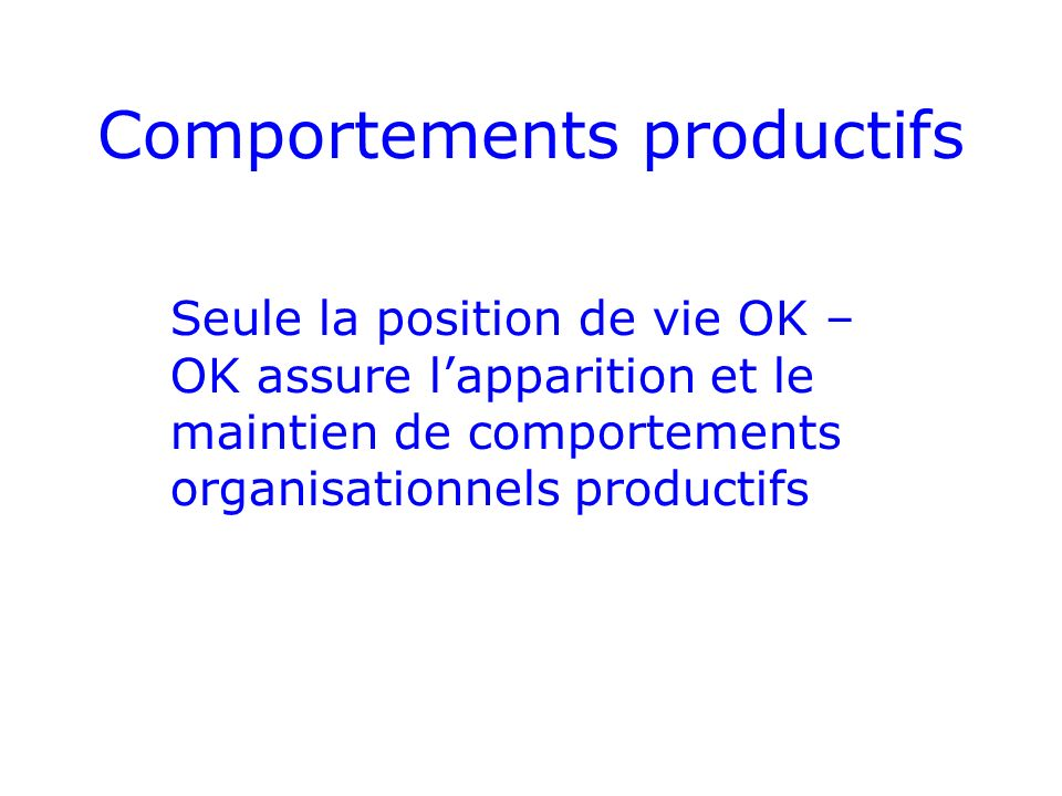Comportements productifs Seule la position de vie OK – OK assure lapparition et le maintien de comportements organisationnels productifs