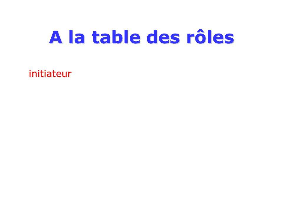 A la table des rôles initiateur