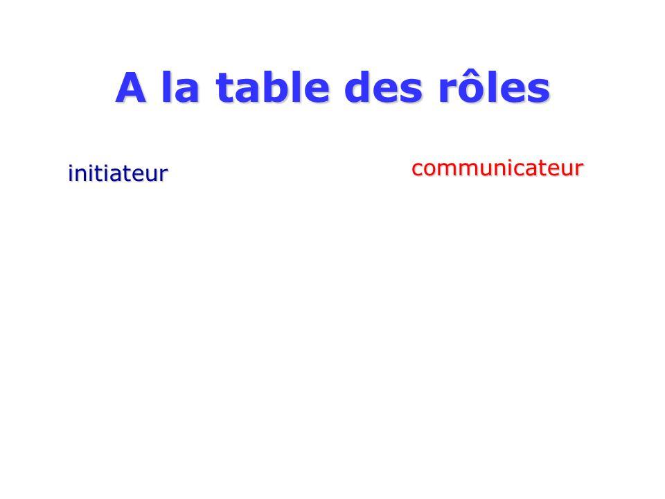A la table des rôles initiateur communicateur