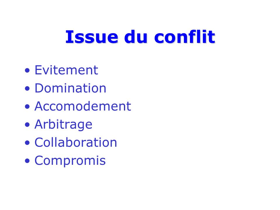 Issue du conflit Evitement Domination Accomodement Arbitrage Collaboration Compromis