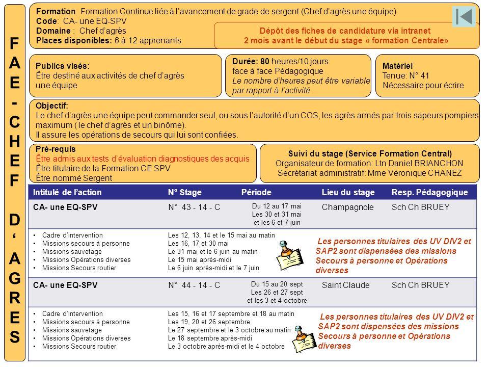 Formation: Formation Continue liée à lavancement de grade de sergent (Chef dagrès une équipe) Code: CA- une EQ-SPV Domaine : Chef dagrès Places dispon