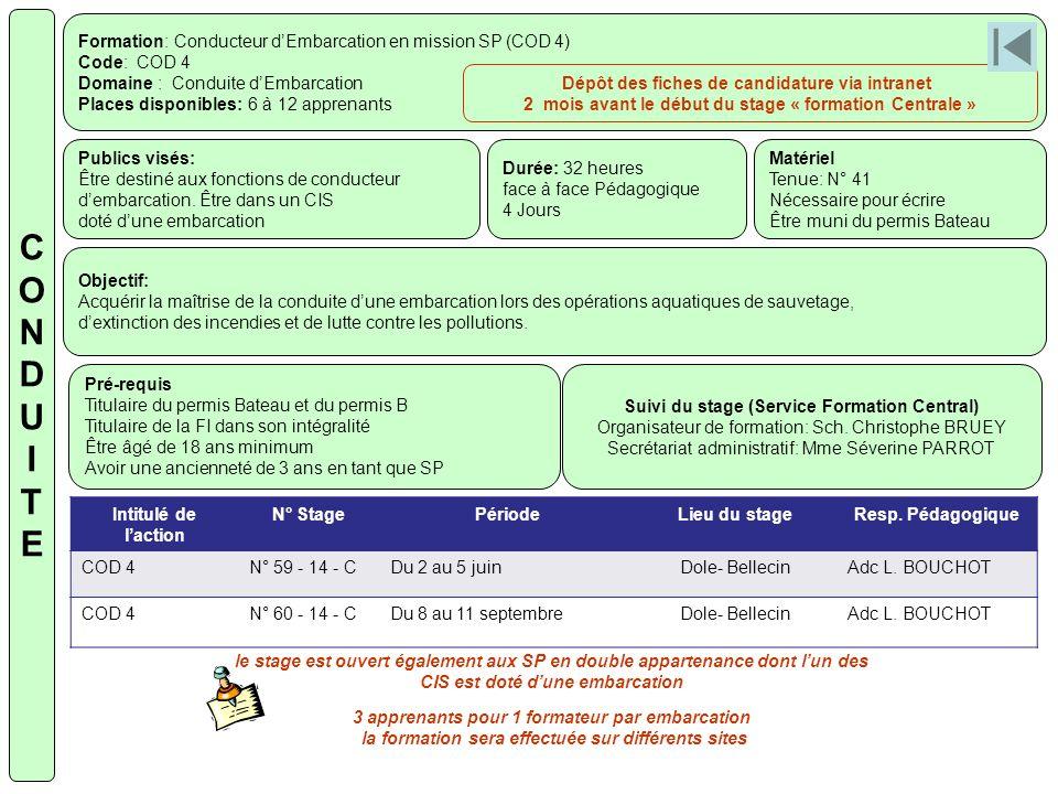 Formation: Conducteur dEmbarcation en mission SP (COD 4) Code: COD 4 Domaine : Conduite dEmbarcation Places disponibles: 6 à 12 apprenants Publics vis