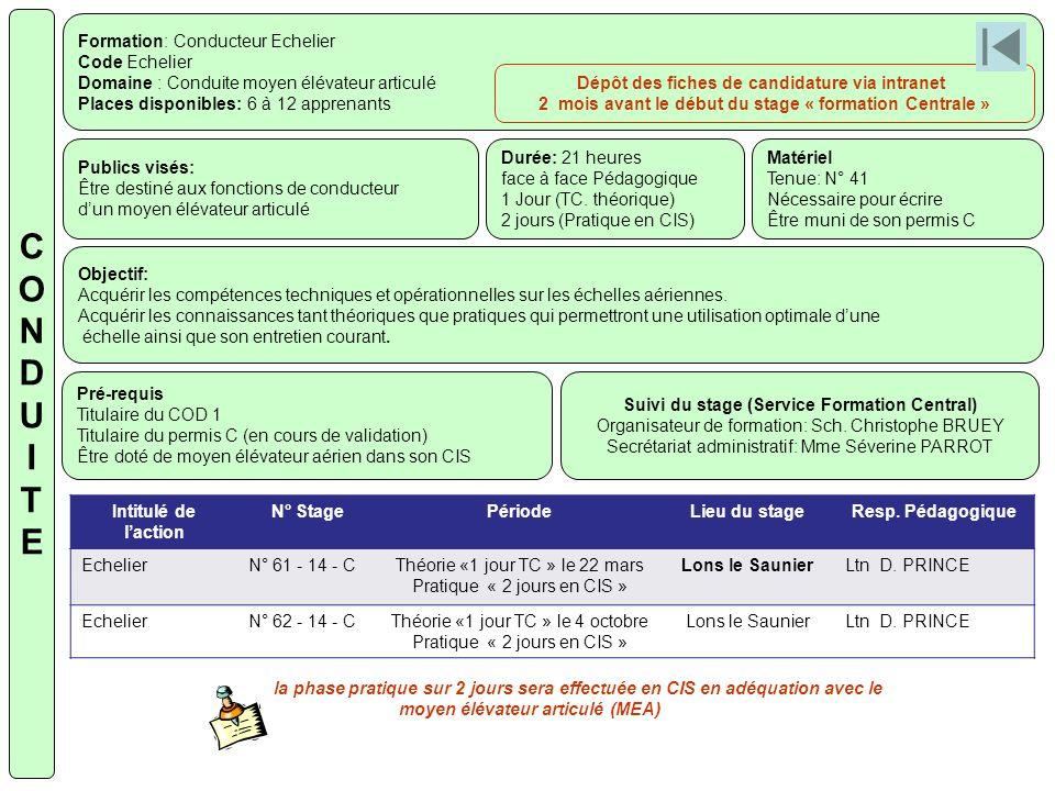 Formation: Conducteur Echelier Code Echelier Domaine : Conduite moyen élévateur articulé Places disponibles: 6 à 12 apprenants Publics visés: Être des