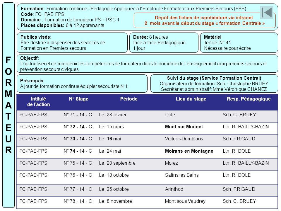 Formation: Formation continue - Pédagogie Appliquée à lEmploi de Formateur aux Premiers Secours (FPS) Code: FC- PAE-FPS Domaine : Formation de formate