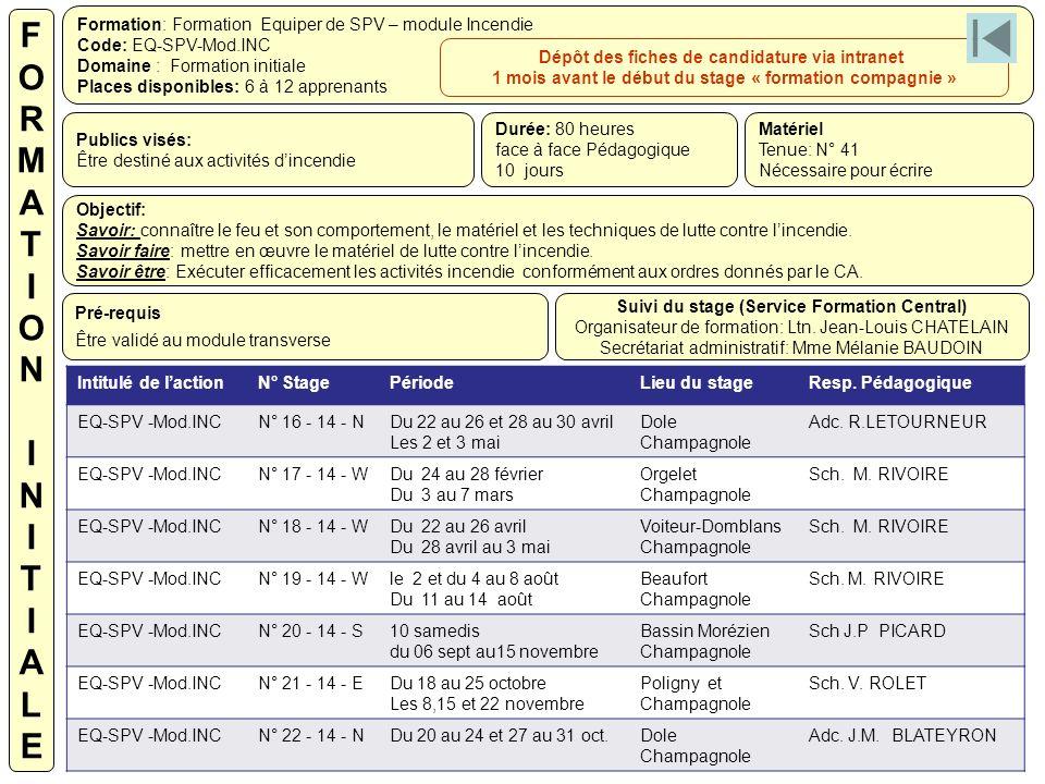 Formation: Formation Equiper de SPV – module Incendie Code: EQ-SPV-Mod.INC Domaine : Formation initiale Places disponibles: 6 à 12 apprenants Publics