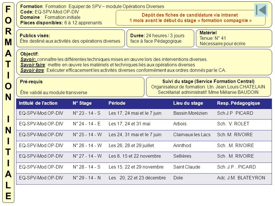 Formation: Formation Equiper de SPV – module Opérations Diverses Code: EQ-SPV-Mod.OP-DIV Domaine : Formation initiale Places disponibles: 6 à 12 appre