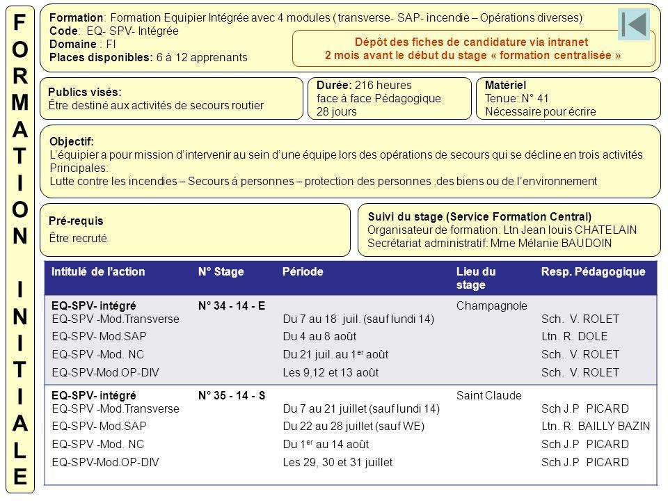 Formation: Formation Equipier Intégrée avec 4 modules ( transverse- SAP- incendie – Opérations diverses) Code: EQ- SPV- Intégrée Domaine : FI Places d