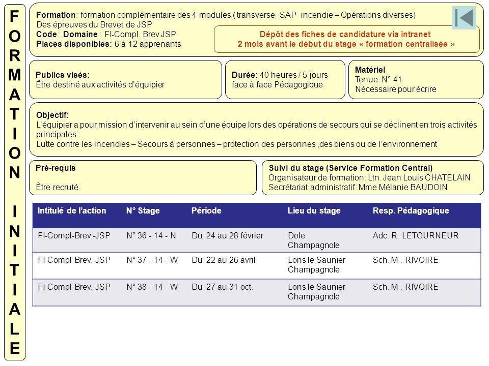 Formation: formation complémentaire des 4 modules ( transverse- SAP- incendie – Opérations diverses) Des épreuves du Brevet de JSP Code: Domaine : FI-
