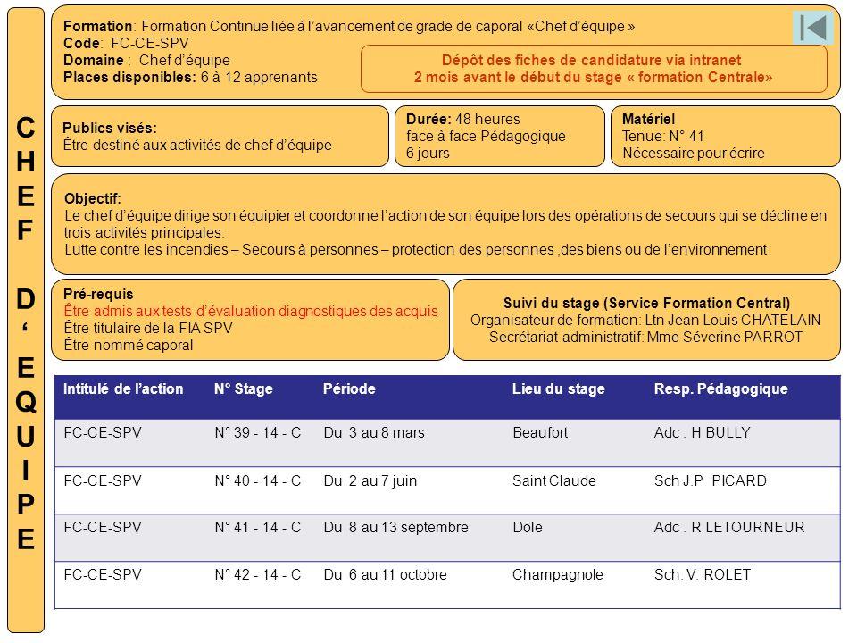 Formation: Formation Continue liée à lavancement de grade de caporal «Chef déquipe » Code: FC-CE-SPV Domaine : Chef déquipe Places disponibles: 6 à 12