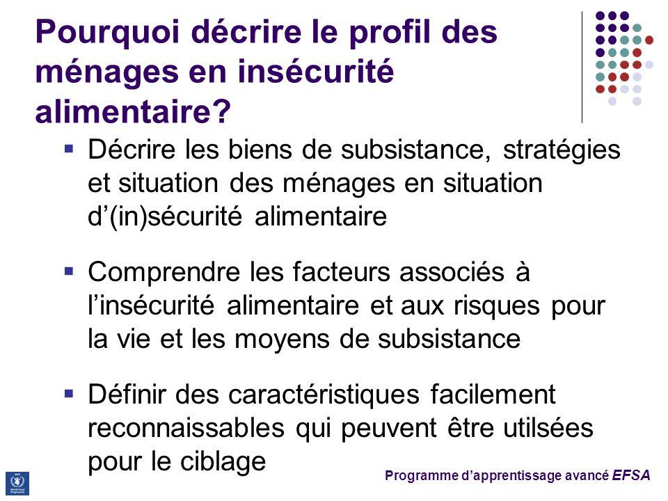 Programme dapprentissage avancé EFSA Pourquoi décrire le profil des ménages en insécurité alimentaire? Décrire les biens de subsistance, stratégies et