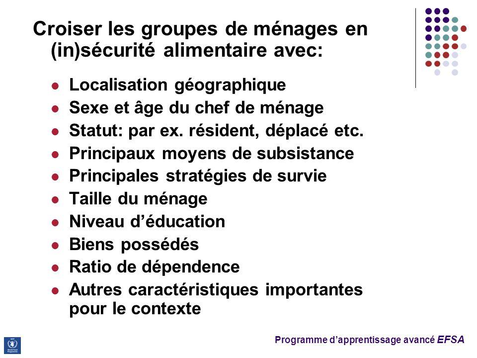 Programme dapprentissage avancé EFSA Croiser les groupes de ménages en (in)sécurité alimentaire avec: Localisation géographique Sexe et âge du chef de