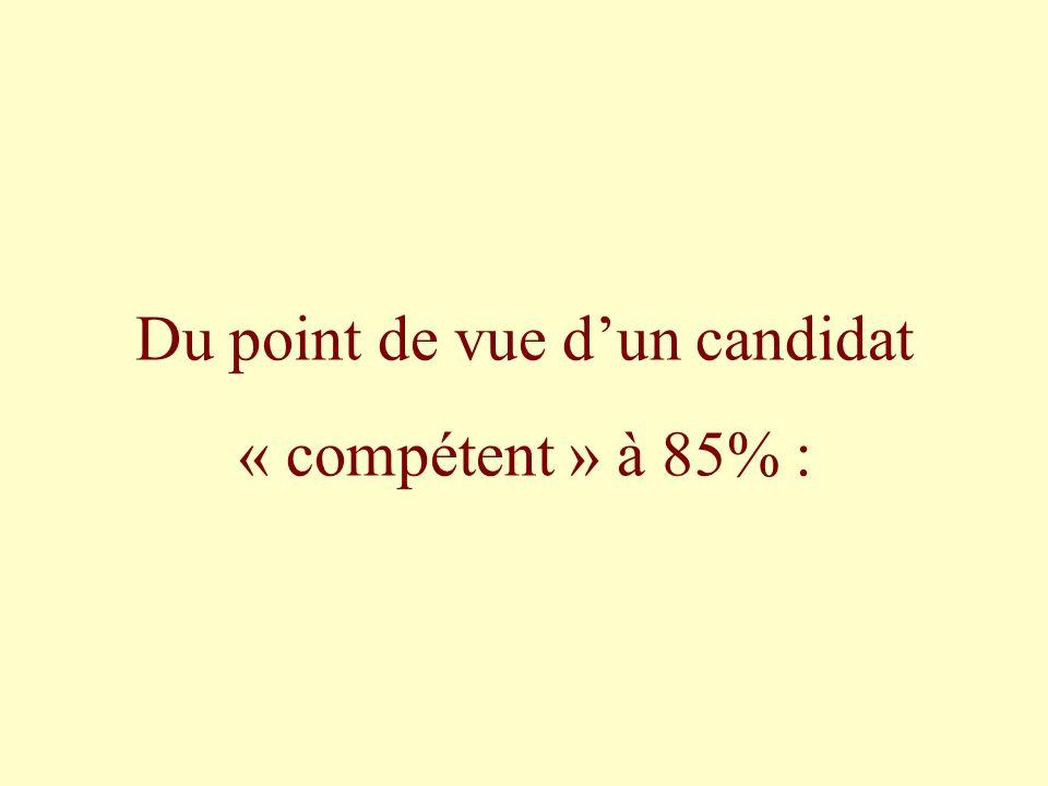 Du point de vue dun candidat « compétent » à 85% :
